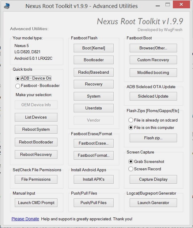 Android Lollipop Nexus Root Toolkit Advanced Utilities