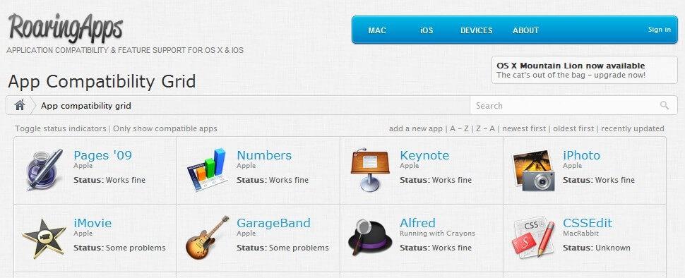 Apple-RoaringApps - App Compatibility Mountain Lion