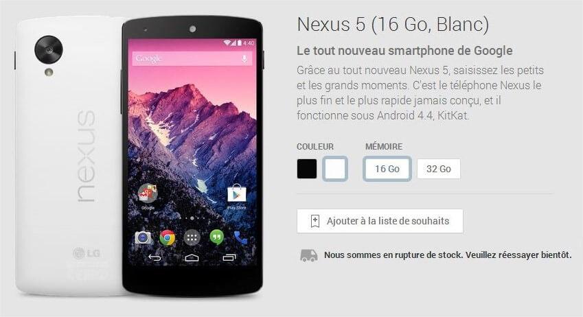 Commander le Google Nexus 5 à l'étranger USA 6 Rupture de stock en France