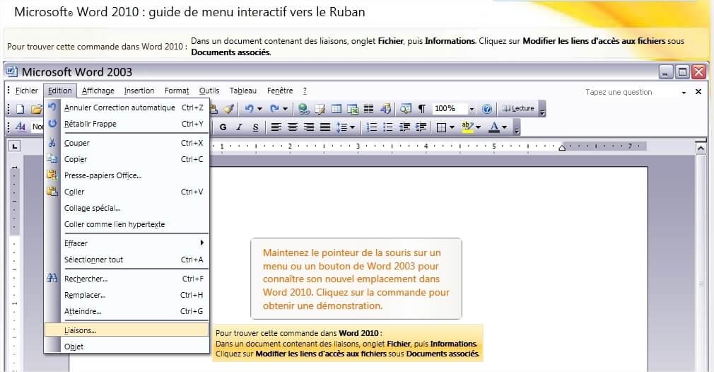 Guide Interactif pour les commandes Office 2010