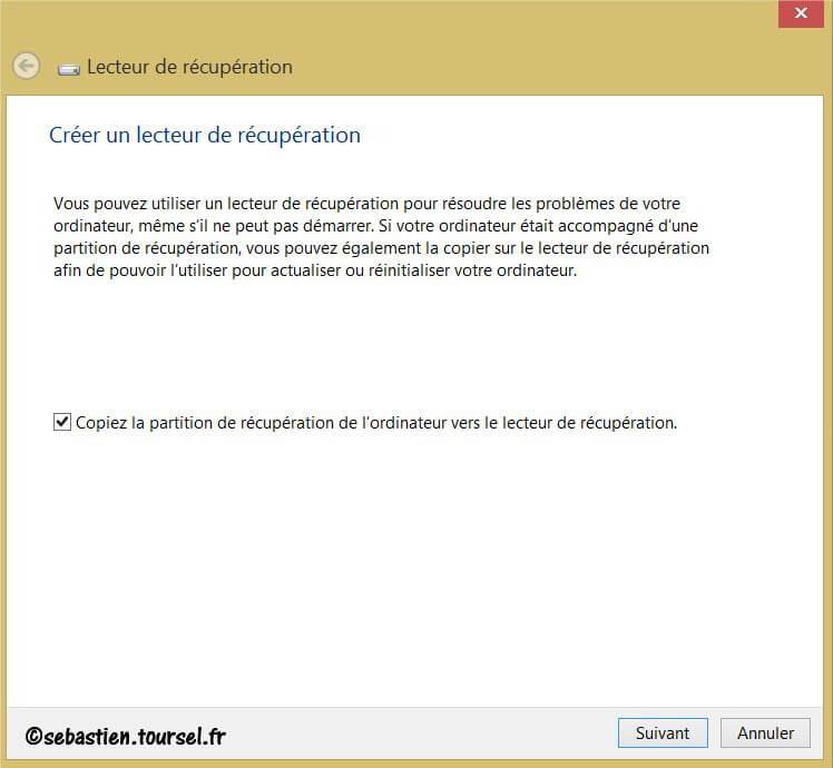 Créer Lecteur de recuperation Windows 8 OK