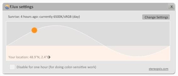 F.lux - Les couleurs affichées au fil de la journée