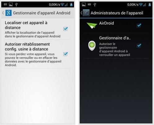 Localiser votre smartphone avec Android Device Manager - Administrateurs Gestionnaire appareil