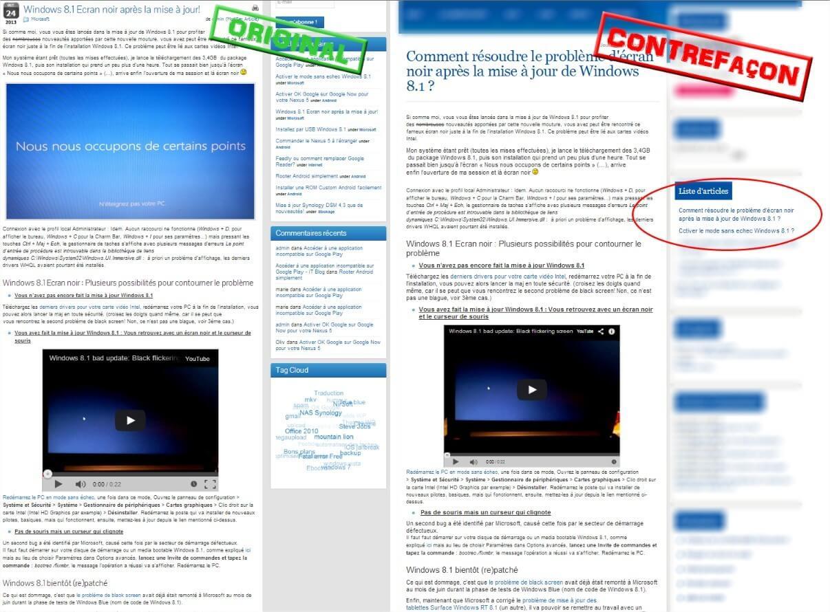 Plagiat sur le site  Faut-il protéger ses articles - Original vs Copie