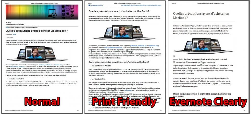 Print Friendly VS Evernote Clearly