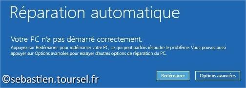 Tentatives de réparation Windows 8.1 Pas démarré correctement