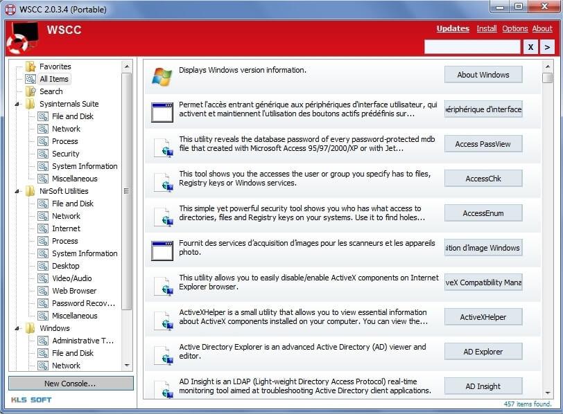 Interface de Windows System Control Center